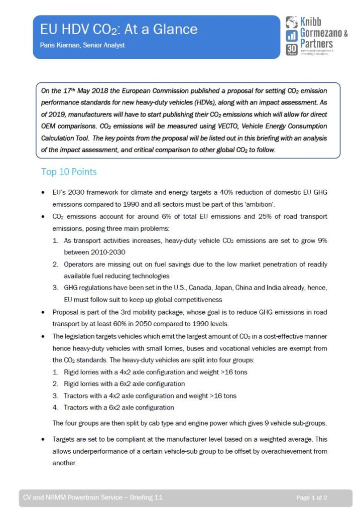 Briefing #11 – EC HDV CO2 Proposal: At a Glance